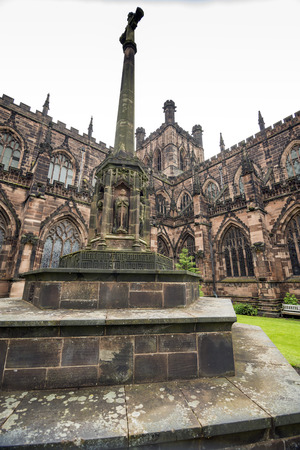 chester: Exterior Chester Cathedral on a rainy day