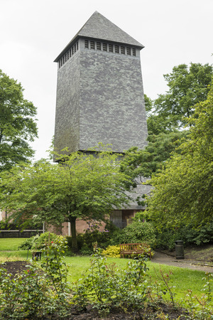 local landmark: The Bell Tower in Chester and the surrounding trees and gardens Stock Photo