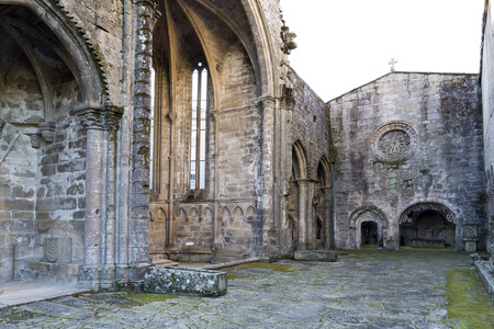 domingo: The ruins of Santo Domingo are located in the heart of the city of Pontevedra. They are declared Historic-Artistic Monument and are considered the epitome of Galician Gothic. Stock Photo