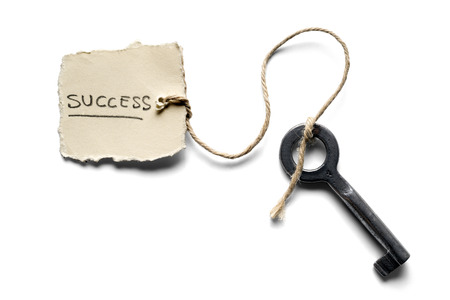 success word: old key to success concept with label or tag