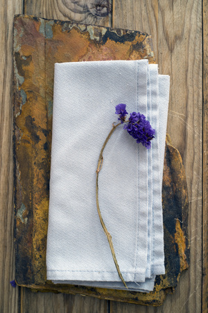 hankie: dried flower on a blue linen and a slice of quartzite