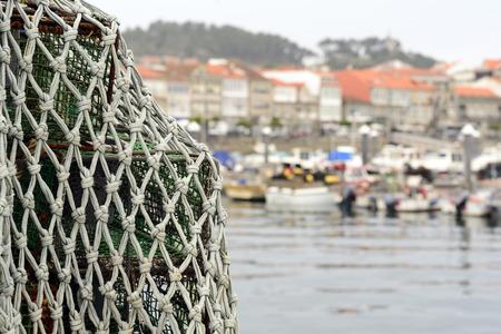 trawl: Trawl drying on a port of Galicia, Spain