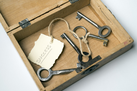 key box: Wooden box containing the key to success