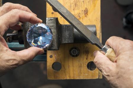 workbench: diamond shaped glass subject workbench Stock Photo