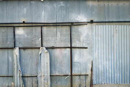 ruinous: shack made of corrugated iron Stock Photo