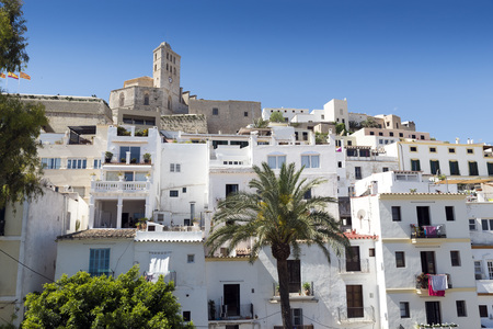 balearic: Cathedral and old town. Ibiza, Balearic Islands. Spain