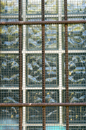 cell block: Closeup of grilled window Stock Photo