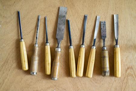chisels: Closeup of wood chisels
