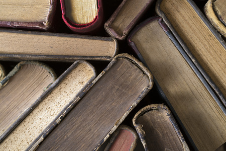 antique books: Old hardback books seen from above Stock Photo