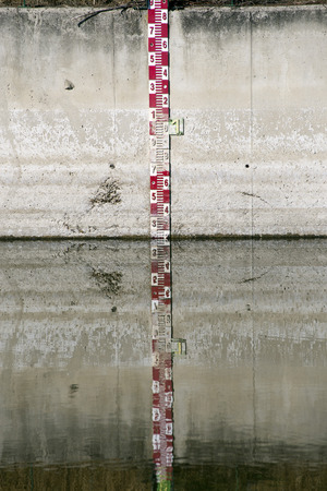 depth measurement: Water level measurement gauge used to monitor the water levels. Stock Photo