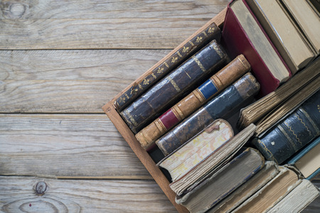 Old books in the wooden box