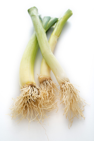 leeks: Three Isolated Leeks Stock Photo