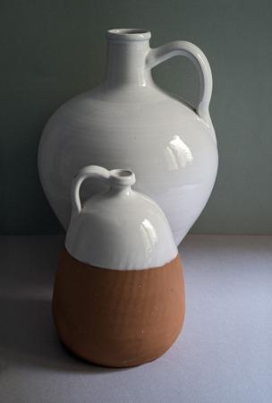 straightforward: Still life with clay pottery. Copy space