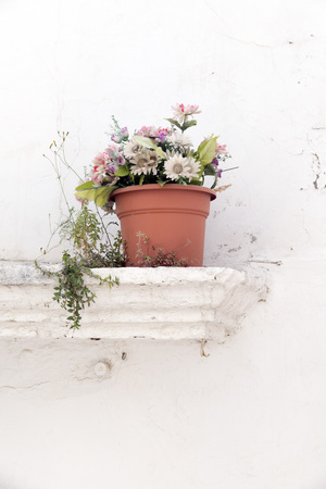 vase plaster: flowerpot with artificial flowers on a ledge of a whitewashed wall Stock Photo