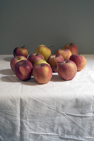 simple life: simple still life of red apples. Copy space
