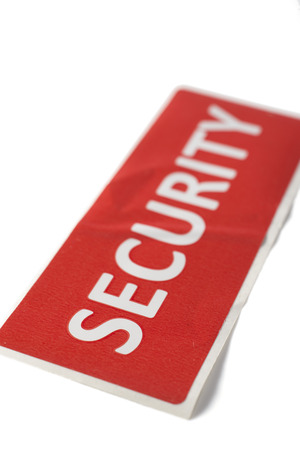 safeguarding: label with the word security isolated on white background