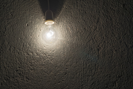 electric bulb: electric bulb on a rough concrete wall
