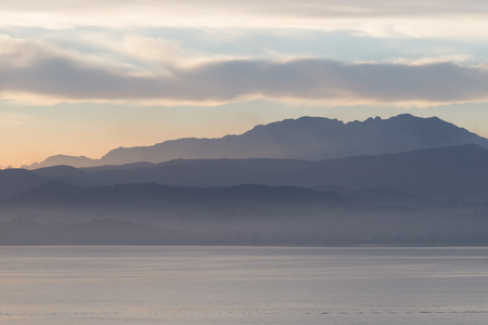 northern spain: Layer of mountains in the mist. Northern Spain Stock Photo