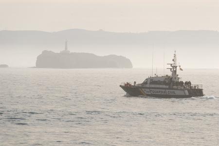 coast guard: SANTANDER, SPAIN - JANUARY 26, 2016: Guardia Civl patrol boat in the Bay of Biscay, off the coast of Santander Editorial