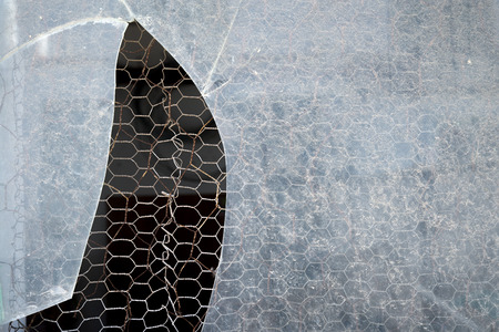splintered: Old cracked and Broken Window in an abandoned building Stock Photo
