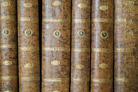 spines: six spines of old books Stock Photo