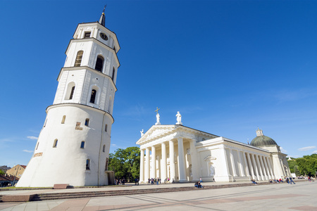 sainthood: View of  Cathedral of Vilnius. Wide angle