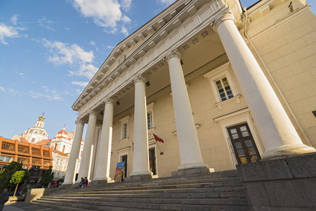 town hall square: VILNIUS, LITHUANIA - JUNE 7, 2016: Vilnius Town Hall Square with the Town Hall facade during a sunny day.Wide angle Editorial