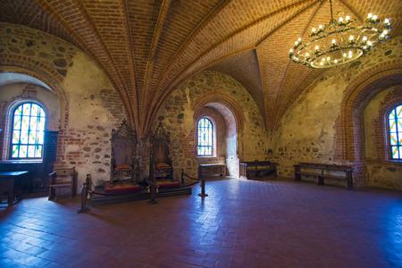 vilnius: TRAKAI, LITHUANIA - JUNE 8, 2016:  View inside of Trakai Castle on Trakai Island which built in 14th century by Kestutis Editorial