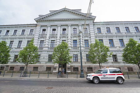 VILNIUS, LITHUANIA - JUNE 8, 2016:  The Museum of Genocide Victims, it is located in the former KGB headquarters across from the Lukiskes Square, Editorial