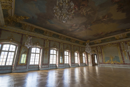 rundale: PILSRUNDALE, LATVIA - JUNE 9, 2016: Interior of Rundale palace, the Gold Hall. It is one of the two major baroque palaces built for the Dukes of Courland in what is now Latvia