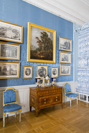 rundale: PILSRUNDALE, LATVIA - JUNE 9, 2016: Interior of Rundale palace. The Italian Salon. It is one of the two major baroque palaces built for the Dukes of Courland in what is now Latvia