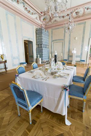 rundale: PILSRUNDALE, LATVIA - JUNE 9, 2016: Interior of Rundale palace.The Marble Hall served as the Duke's dining room