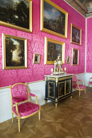 baroque room: PILSRUNDALE, LATVIA - JUNE 9, 2016: Interior of Rundale palace.the Reception Room. It is one of the two major baroque palaces built for the Dukes of Courland in what is now Latvia