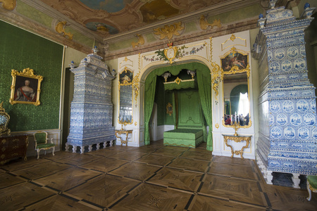 rundale: PILSRUNDALE, LATVIA - JUNE 9, 2016: Interior of Rundale palace. The Duke's Bedroom. It is one of the two major baroque palaces built for the Dukes of Courland in what is now Latvia