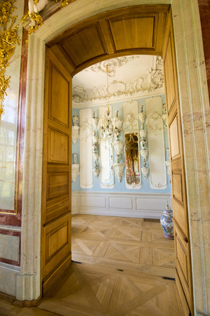rundale: PILSRUNDALE, LATVIA - JUNE 9, 2016: Interior of Rundale palace. The Porcelain Cabinet