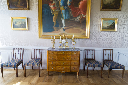 rundale: PILSRUNDALE, LATVIA - JUNE 9, 2016: Interior of Rundale palace.The Billiard Room