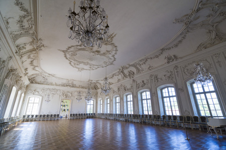 rundale: PILSRUNDALE, LATVIA - JUNE 9, 2016: Interior of Rundale palace (The White Hall). It is one of the two major baroque palaces built for the Dukes of Courland in what is now Latvia