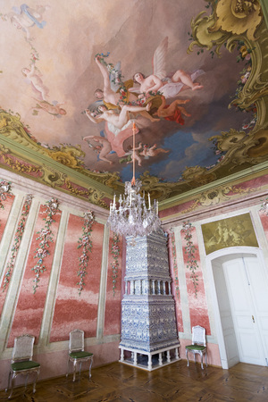 baroque room: PILSRUNDALE, LATVIA - JUNE 9, 2016: Interior of Rundale palace. The Rose Room. .It is one of the two major baroque palaces built for the Dukes of Courland in what is now Latvia Editorial