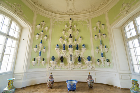 rundale: PILSRUNDALE, LATVIA - JUNE 9, 2016: Interior of Rundale palace.The Oval Porcelain Cabinet. It is one of the two major baroque palaces built for the Dukes of Courland in what is now Latvia