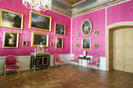 rundale: PILSRUNDALE, LATVIA - JUNE 9, 2016: Interior of Rundale palace.the Reception Room. It is one of the two major baroque palaces built for the Dukes of Courland in what is now Latvia