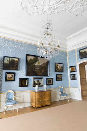rundale: PILSRUNDALE, LATVIA - JUNE 9, 2016: Interior of Rundale palace. In the Dutch Salon. It is one of the two major baroque palaces built for the Dukes of Courland in what is now Latvia