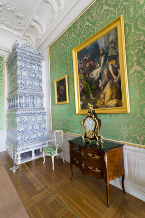 rundale: PILSRUNDALE, LATVIA - JUNE 9, 2016: Interior of Rundale palace.The Duke's Bedroom