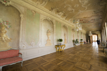 rundale: PILSRUNDALE, LATVIA - JUNE 9, 2016: Interior of Rundale palace (The Grand Gallery ). It is one of the two major baroque palaces built for the Dukes of Courland in what is now Latvia