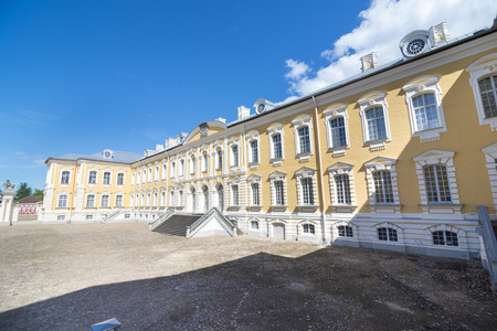 rundale: Main entrance of Rundale Palace - baroque style palace built for the Dukes of Courland. It is one of the major tourist destinations in Latvia.