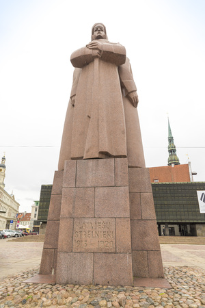 riga: RIGA, LATVIA - JUNE 10,2016: Monument for Latvian riflemen (1971) in Riga, Latvia.