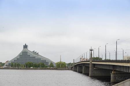 proclaimed: RIGA, LATVIA - JUNE 10,2016: The National Library of Latvia was formed in 1919 after the independent Republic of Latvia was proclaimed in 1918. Editorial