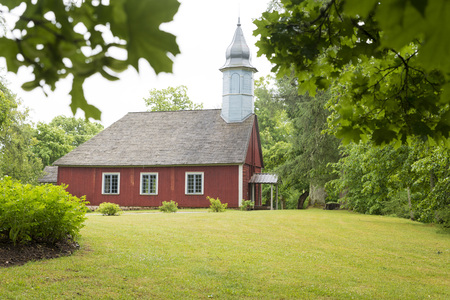 lutheran: Old wooden Lutheran church in Turaida park, Latvia