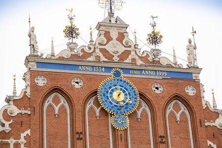 Detail of astronomical clock on the House of Blackheads, Riga, Latvia.