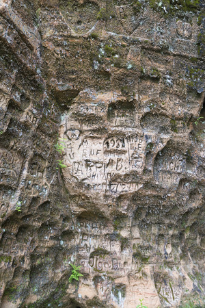 engravings: Registration and engravings made by visitors on the walls of Gutmans Cave in the Gauja National Park, Latvia
