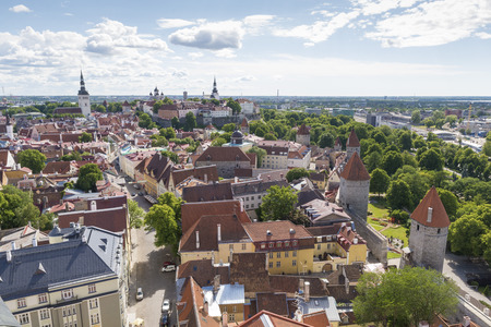 tallin: Panoramic view of the city of Tallinn from the tower of the Church of St. Olav